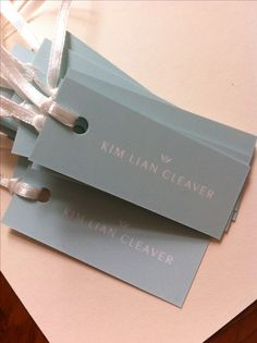 New swing tickets! Beautiful aqua and white logo with satin ribbon ties. Clothing Packaging, Jewelry Packaging, Brand Packaging, Box Packaging, Packaging Design, Branding Design, Tag Design, Label Design, Swing Tags