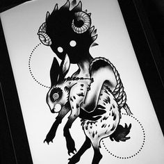 Kid child rabbit bunny darkhead tattoo design blackwork monster creature creepy dotwork