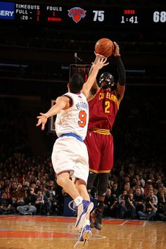 Kyrie Irving shoots against Pablo Prigioni of the New York Knicks at Madison Square Garden on December 15, 2012 in New York, New York - photo courtesy of Nathaniel S. Butler / NBAE via Getty Images.