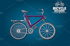 Bicycle mechanics infographics by Vector Tradition SM on @creativemarket