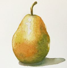 Final Watercolor Pear Painting Source by Watercolor Pencil Art, Watercolor Fruit, Watercolor Projects, Fruit Painting, Watercolour Tutorials, Easy Watercolor, Watercolor Techniques, Watercolour Painting, Watercolor Flowers