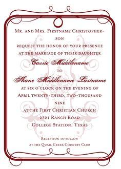 Printable wedding invitation simple formal script 5500 via brown hudec wedding pinterest formal wedding invitation wording semi formal weddi stopboris Choice Image