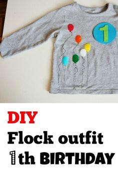 DIY crafts: Zelf een flock outfit maken voor de eerste verjaardag - Mamaliefde.nl. Birthday flock Diys, Kids Outfits, Sewing, Sweatshirts, Uni, Birthday, Blog, Clothes, Clothes For Kids
