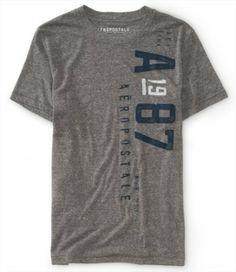 Camiseta Aeropostale Men's Distressed A 1987 Graphic T Med Heather Grey #Camisetas #Aeropostale
