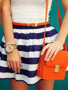 Blue and White Striped Skirt With Wrist Watch