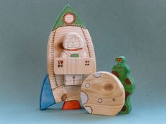 Wooden Toy Rocket, Astronaut, Alien and Moon from Shiny Craftwork