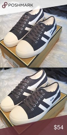 Gola Men's Coaster Sneaker. Size 10 Gola - Coaster Sneakers Men's.                                          Details  - Round cap toe - Lace-up vamp - Textile construction - Topstitched detail - Side logo accent and stripes - Grip sole - Size : 10 Color Graphite / Off White Gola Shoes Sneakers