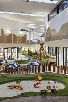 Goodstart Early Childhood Centre by Gray Puksand. Photo by Christopher Frederick… Goodstart Early Childhood Centre by Gray Puksand. Photo by Kindergarten Interior, Kindergarten Design, Playground Design, Backyard Playground, Children Playground, Kids Restaurants, Childcare Rooms, Daycare Design, Indoor Play Areas