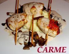 Brochetas de pollo y jamón gourmet. Ver la receta http://www.mis-recetas.org/recetas/show/38809-brochetas-de-pollo-y-jamon-gourmet