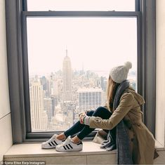 The big apple: 'NYC you have my heart! Thanks for having us,' Sjana Earp captioned this photo from Top of the Rock