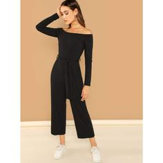 4027a25590 Off Shoulder Tie Waist Wide Leg Jumpsuit