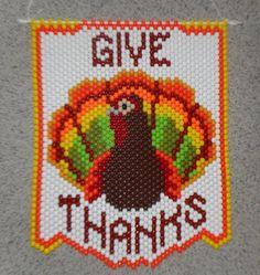 Handmade Thanksgiving Bright Give Thanks Turkey Beaded Banner