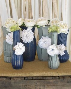 Vases,Hand Painted Flower Vases, upcycled flower vases, Rustic wedding centerpieces Shabby Chic, Navy Blue and Grey Wedding on Etsy, $52.00