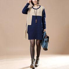 Autumn Retro Ladies Long Sleeve Round Neck Stitching Navy Blue Sweater