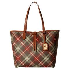 """Ralph Lauren Crawley Plaid Unlined Tote Brand New Ralph Lauren Tote Bag, plaid printed coated cotton with leather trim, 12 1/2"""" W x 12 1/2"""" H x 6 1/2"""" D, double handles with 9 1/2"""" drop, top zip closure, protective metal feet, unlined interior features 1 zip pocket, Ralph Lauren Bags Totes"""