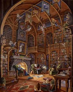 Find the best prices on Artifact Puzzles - Randal Spangler Fireside Fairytales Wooden Jigsaw Puzzle and save money. Fantasy House, Fantasy World, Fantasy Art, Randal, Wooden Jigsaw Puzzles, Earth Design, Fantasy Places, Fantasy Landscape, Heaven On Earth