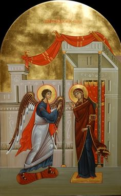 The Annunciation. 2013 - Iconostasis of Assumption church of Optina Monastery in Saint Petersburg Metohion. by Olga Shalamova and Philip Davydov Religious Images, Religious Icons, Religious Art, Byzantine Icons, Byzantine Art, Assumption Church, Famous Freemasons, Mother Of Christ, Church Icon