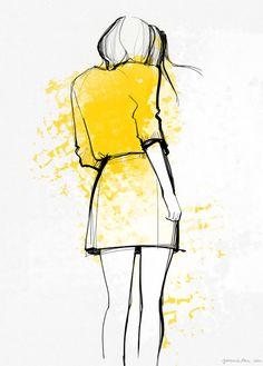 Lovely Colour Application. Girl Turning Away. Illustration.                     'Yellow Dress by Garance Doré'.