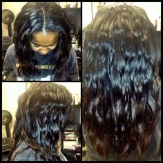 Traditional weave with Brazilian body wave hair with med brown ombré and soft flat iron waves