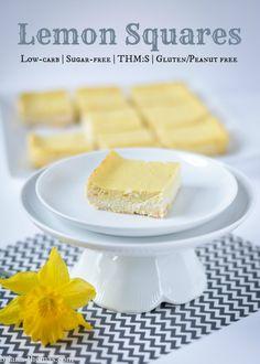 Lemon Squares {THM:S, Low-carb, Sugar free, Gluten/Peanut free}