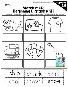 Beginning Digraphs: SH- There are tons of activities in these digraph packets to help children practice reading and writing digraphs and learn how to identify them in everyday words!