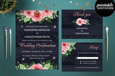 Navy Blue Wedding Invitation. Watercolor Flowers