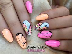 Nail Art Designs and Colors for Summer Butterfly Nail Designs, Nail Art Designs, Spring Nails, Summer Nails, Love Nails, Pretty Nails, Decoration Stickers, Glitter Nail Art, Beautiful Nail Art