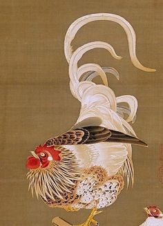 Detail. 伊藤若沖筆 葡萄双鶏図 Hen and Rooster with Grapevine. Itō Jakuchū (Japanese, 1716–180o). Edo period (1615–1868). 1792. Japan. Hanging scroll; ink and color on silk. The Met