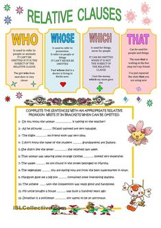 A collection of English ESL worksheets for home learning, online practice, distance learning and English classes to teach about relative, clauses, relative c. English Grammar Rules, Teaching English Grammar, English Grammar Worksheets, English Vocabulary, Grammar Book, English Study, English Lessons, Learn English, Relative Clauses