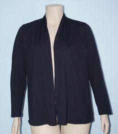 Talbots Sz XL Navy Blue Long Sleeve Pima Cotton Open Front Knit Cardigan Top #Talbots #Cardigan
