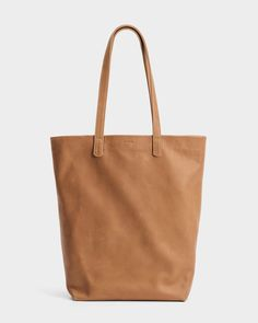 Baggu Leather Basic Tote in Saddle brown