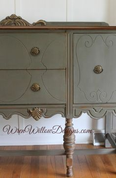 I used Graphite One Step paint on this buffet which is a gorgeous driftwood color.