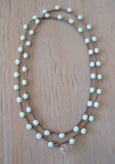 Sky blue crochet boho wrap necklace bracelet, long bohemian jewelry, baby blue, Shabby chic, surfer girl boho, on SALE