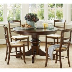 Pottery Barn Tivoli Fixed Pedestal Dining Table ($799) ❤ liked on Polyvore featuring home, furniture, tables, dining tables, pedestal dining table, round wooden kitchen table, wood dining table, round wood kitchen table and round wooden dining table