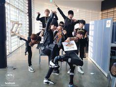 BTS - Front ---> ( Suga & Jimin) Behind ---> ( Jin, V, Rap Monster, J Hope & Jung Kook)