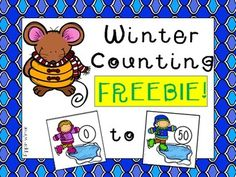 Counting cards 0 - 50 for students to put in sequential order. Counting In 5s, Girls School, Number Sense, Winter Theme, In Kindergarten, Mathematics, Penguins, 50th, Card Stock