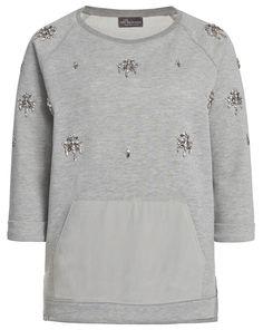Sweatshirt mit Schmuckstein-Besatz - grau-meliert von Princess goes Hollywood bei Insider Boutique jetzt kaufen | kleidoo