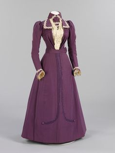 This crisply tailored purple silk dress was made and worn by Harriett Joyce for her marriage to Percy Raven Sams at St Andrews Church, Earlsfield, Middlesex (8 June 1899). Harriett worked as a ladys maid, while Percy worked for the London Water Board. Harriett chose to wear purple, as at 35, she considered herself too old for a traditional white gown. However, she trimmed her hat with wax orange-blossom, which was worn by brides for their first marriage.