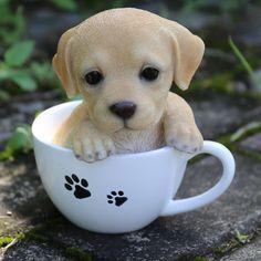 Hi-Line Gift Ltd. Te Hi-Line Gift Ltd. Teacup Labrador Puppy Statue - cooking tips Cute Baby Dogs, Baby Animals Super Cute, Cute Little Puppies, Cute Dogs And Puppies, Cute Little Animals, Cute Funny Animals, Cute Cats, Tiny Puppies, Cute Animals Puppies