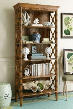 West Indies Bookcase - Bamboo Bookcase, Polynesian Style Bookcase   Soft Surroundings