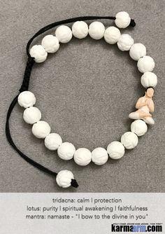 Yoga Bracelets. Men's Women. Healing Energy Prayer Mantra Spiritual Beaded Mala. Lotus white Tridacna Yoga Girl Raku.
