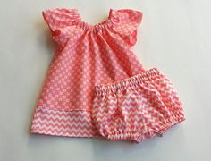 Baby's Coral Dress and Bloomers - Flutter Sleeves - Flowers & Chevron Stripes - Coming Home Outfit - Fall Dress - Size Nb Thru Girls Coral Dress, Little Girl Dresses, Girls Dresses, Toddler Dress, Baby Dress, Fall Dresses, Fall Outfits, Coming Home Outfit, Boutique Clothing