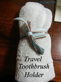 Handmade rolled travel toothbrush holder