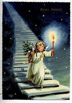 Angel with Candle on Stairway Xmas Glossy Vintage PC Circa 1950 A Vintage Christmas Images, Christmas Scenes, Christmas Past, Retro Christmas, Christmas Pictures, Christmas Angels, Xmas, Angel Cards, Vintage Artwork