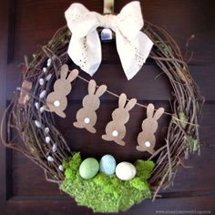 Thinking about DIY Easter Wreaths for front door? Here's the cutest and easiest Easter Wreath DIY & Easter door decoration ideas for you. Diy Spring Wreath, Diy Wreath, Spring Crafts, Holiday Crafts, Easter Projects, Easter Crafts, Easter Ideas, Bunny Crafts, Easter Decor