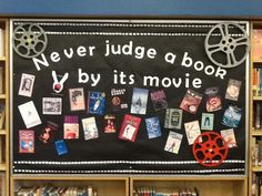 Library bulletin board based on children/teen books made into films is among the many library display pics on this post