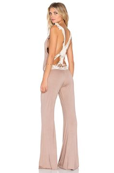 Bettinis Macrame Jumpsuit in Sand