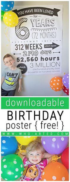 Birthday Posters – Who Arted? 6th Birthday Boys, Birthday Presents For Girls, Birthday Diy, Birthday Party Themes, Birthday Wishes, Birthday Invitations, Birthday Posters, Birthday Ideas, Happy Birthday
