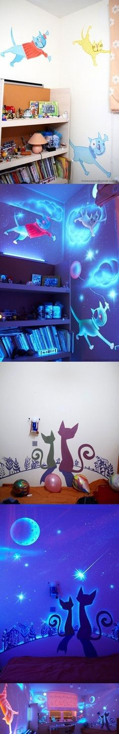 Cool glowing paintings #Glow in the dark #kids bedroom