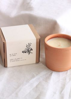 Olive Terra Candle, PF Co Olive Terra Candle, PF Co Olive Terra Candle, Make similar cups for making my own candles -- Leach Pottery Beeswax Candles and packaging. Unboxing a Love, Bonito surprise Brick and Mortar Fields-Scented Candle Candle Branding, Candle Packaging, Candle Labels, Candle Jars, Packaging Ideas, Candle Box, Candle Containers, Homemade Candles, Diy Candles